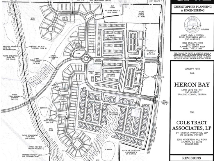 Concept site plan for Heron Bay village node in Spalding County dated October 2019 (Christopher Planning & Engineering photo)