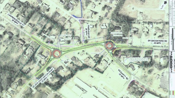 Concept layout for dual roundabout on state route 20 in McDonough (GDOT photo)