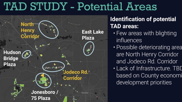 Presentation slide showing potential areas for a tax allocation district in Henry County (county photo)