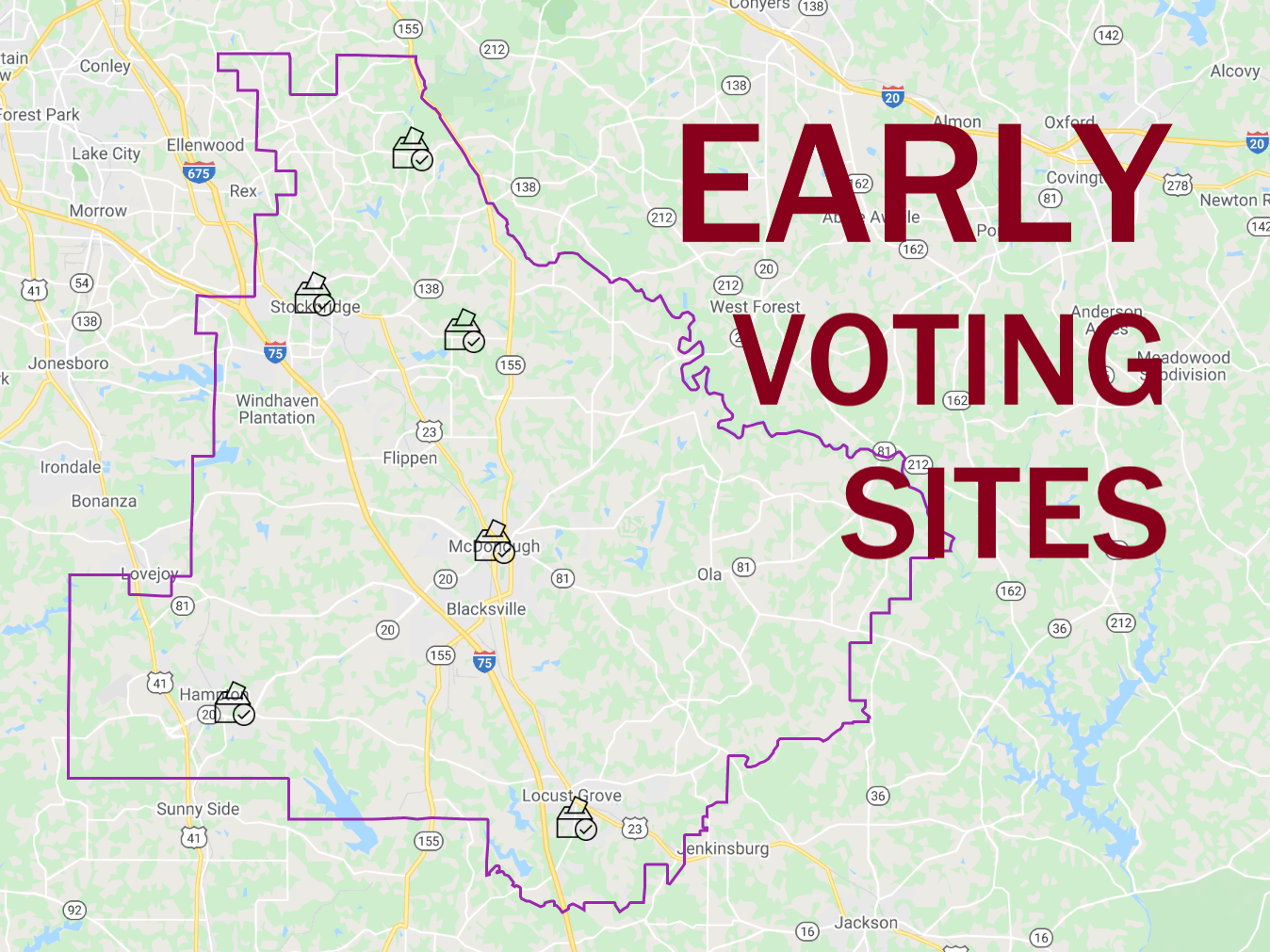 Map of early voting locations in Henry County (staff map)
