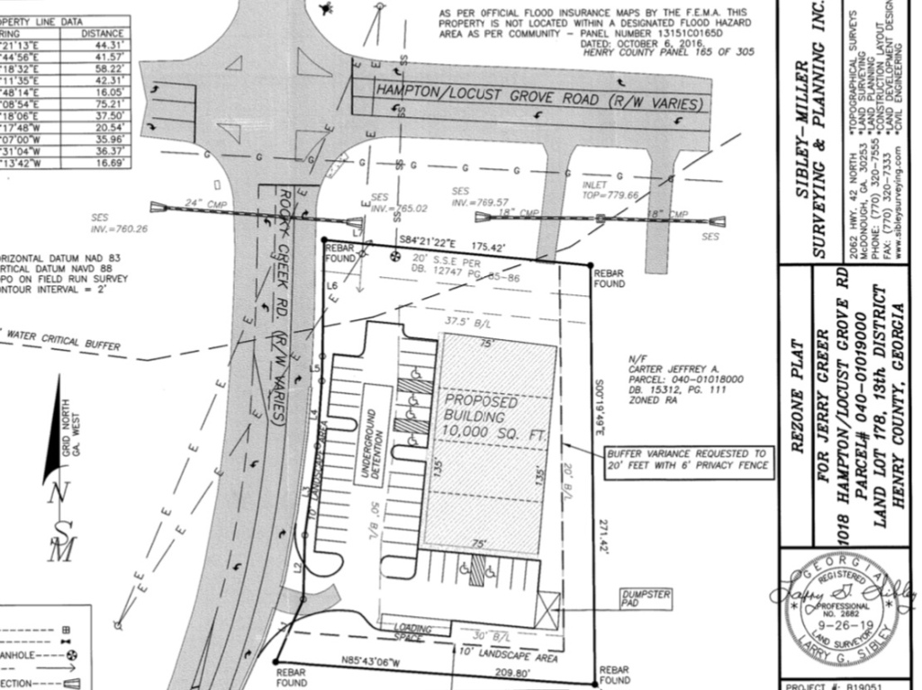 Concept site plan for Hampton-Locust Grove Road small-box discount store (Sibley-Miller Surveying photo)