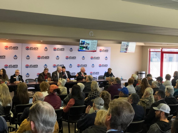 Photo of audience and committee members at Atlanta Motor Speedway on January 9, 2020 (staff photo)