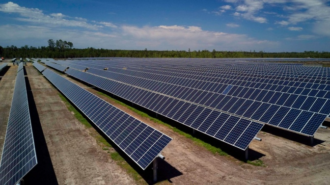 Photo of solar panels at Georgia Power solar farm near Guyton (Effingham Herald photo / Birk Herrath)