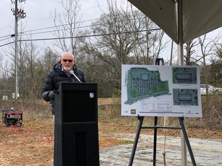 Photo of Commissioner Gary Barham addressing the audience at the groundbreaking ceremony for Shoppes at Ola Crossroads (staff photo)