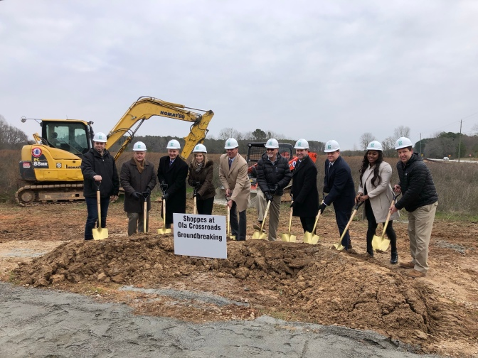 Photo of groundbreaking ceremony at Shoppes at Ola Crossroads (staff photo)
