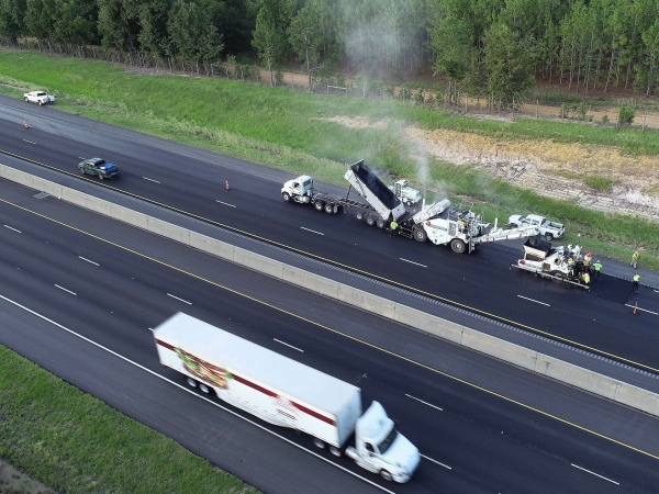 Drone photo of I-75 resurfacing in South Georgia in summer 2019 (Georgia DOT photo)
