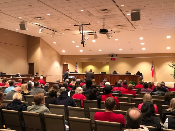 Photo of large audience at board of commissioners meeting on February 18, 2020 (staff photo)