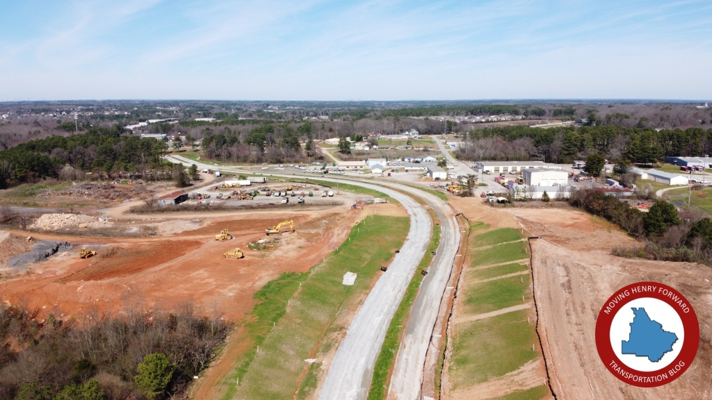 Photo of McDonough Parkway under construction in February 2020 (staff photo)