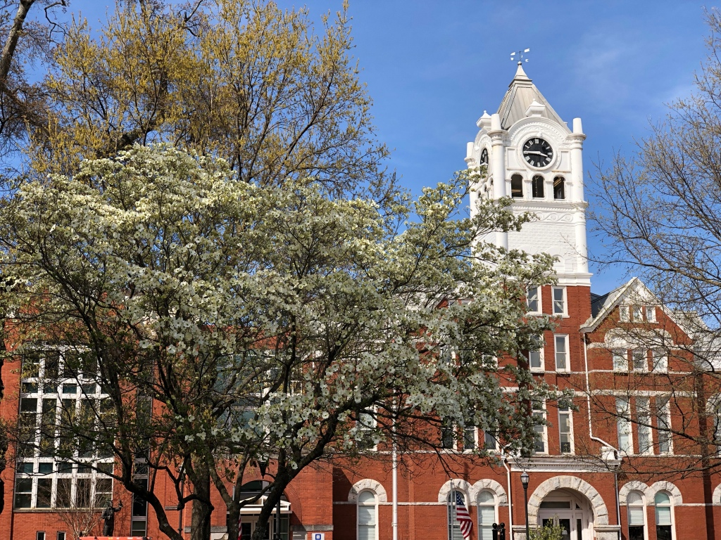 Photo of the Henry County Courthouse in spring (staff photo)