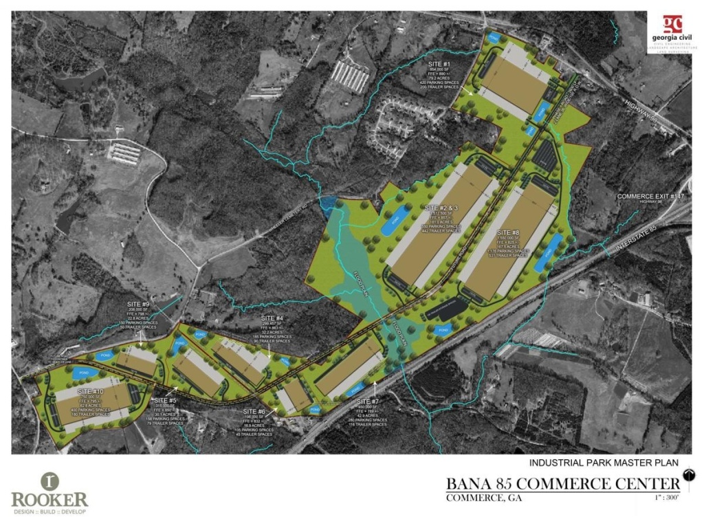 Site plan for Bana 85 Commerce Center in Commerce, GA (Rooker Photo)