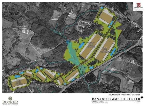 Site plan for Bana 85 Commerce Center in Commerce, GA (Rooker Co Photo)
