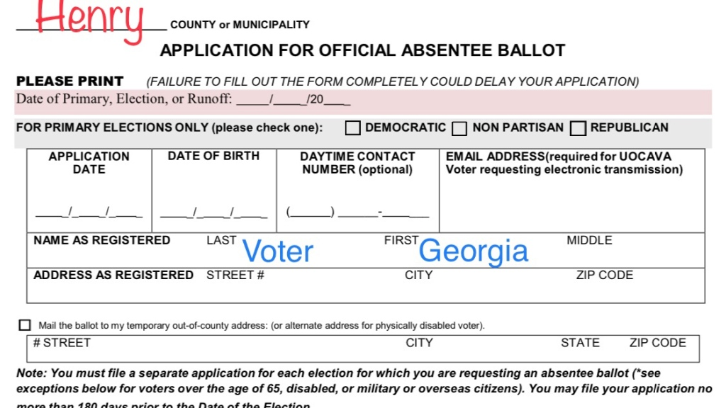 Photo of an application for an absentee ballot