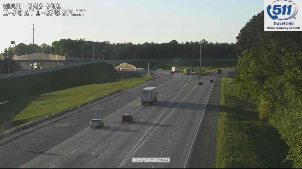 Traffic camera photo of I-75 at I-675 on April 20, 2020 (Georgia DOT camera)