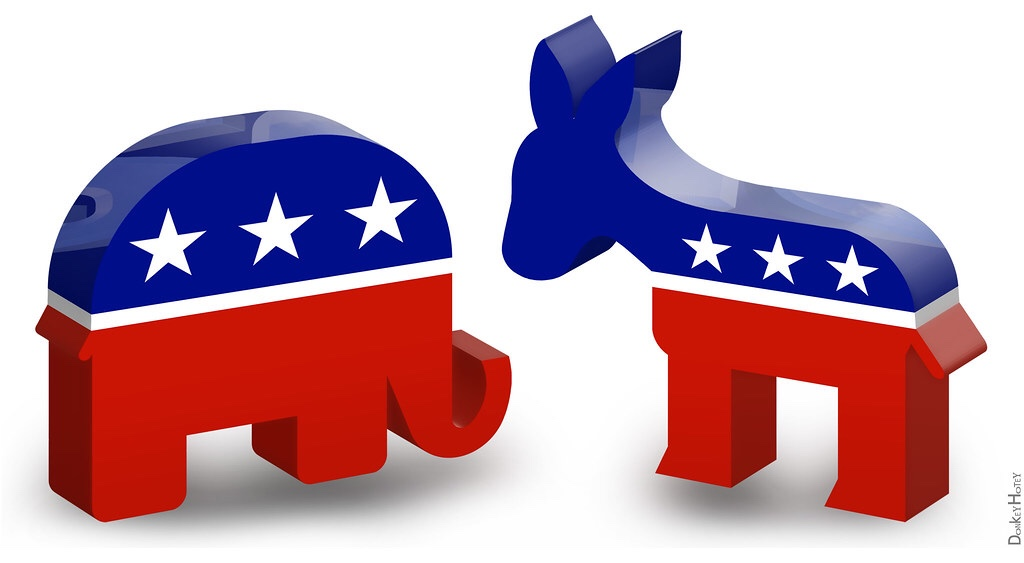 3D icons for Republican elephant and Democratic donkey (Donkey Hotey photo / Flickr)