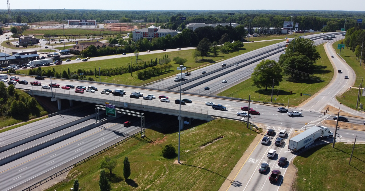 Aerial photo of I-75 exit 218 / state route 20 (staff photo)