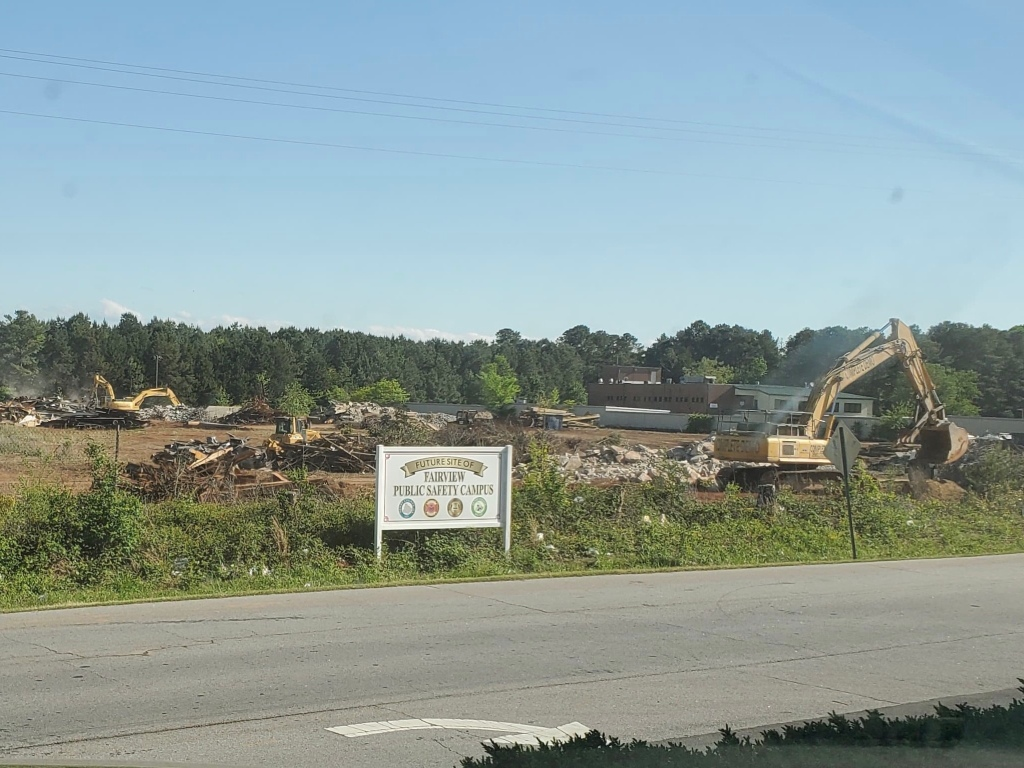 April 2020 photo of site demolition at the Fairview Public Safety Complex (Mark B. photo)