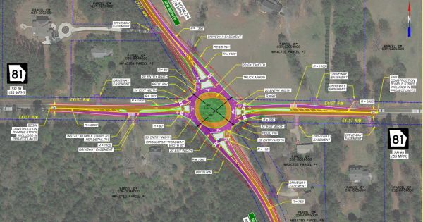 Photo of state route 81 at New Morn Drive concept layout (Georgia DOT photo)