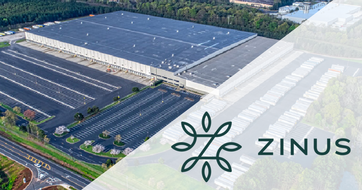 Zinus logo overlay on aerial photo of 830 Georgia 42, McDonough (company logo, real estate photo)