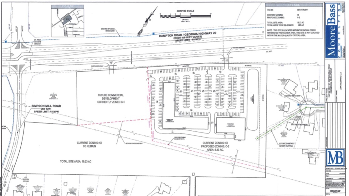 Concept site plan of SR 20 at Simpson Mill Road commercial space (Moore Bass Consulting photo)