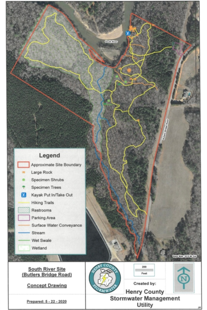 Concept trail layout for Butler's Bridge Road (Henry County photo)