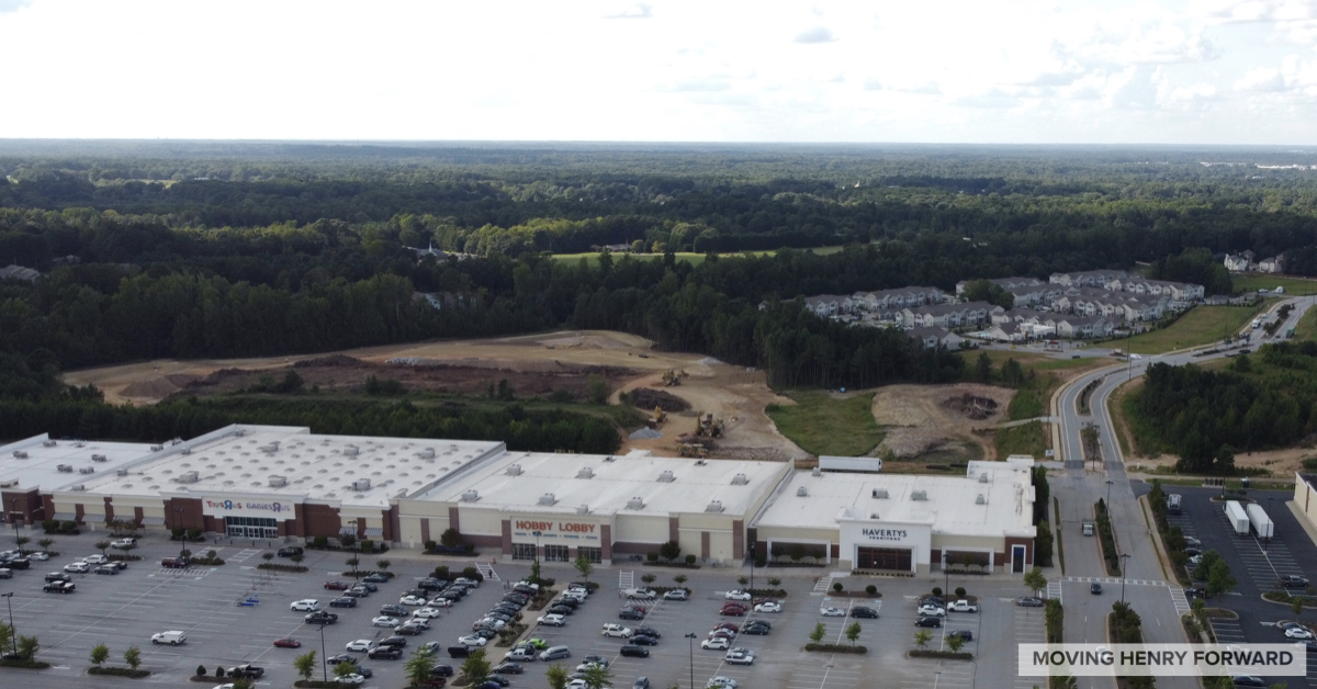 Aerial photo of Columns at South Point under construction in September 2020 (staff photo)