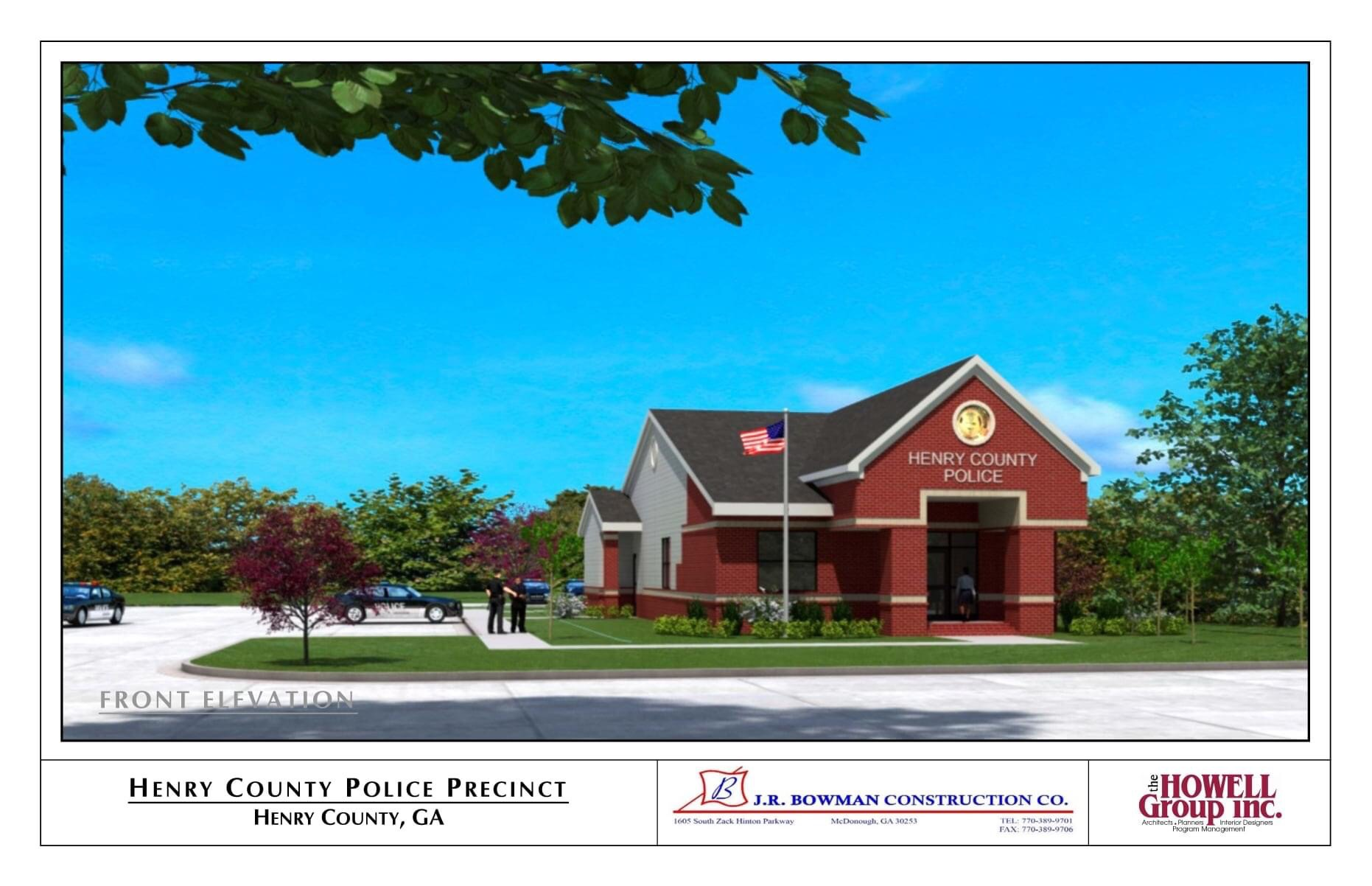 Concept front elevation for Fairview police precinct (J.R. Bowman Construction photo)