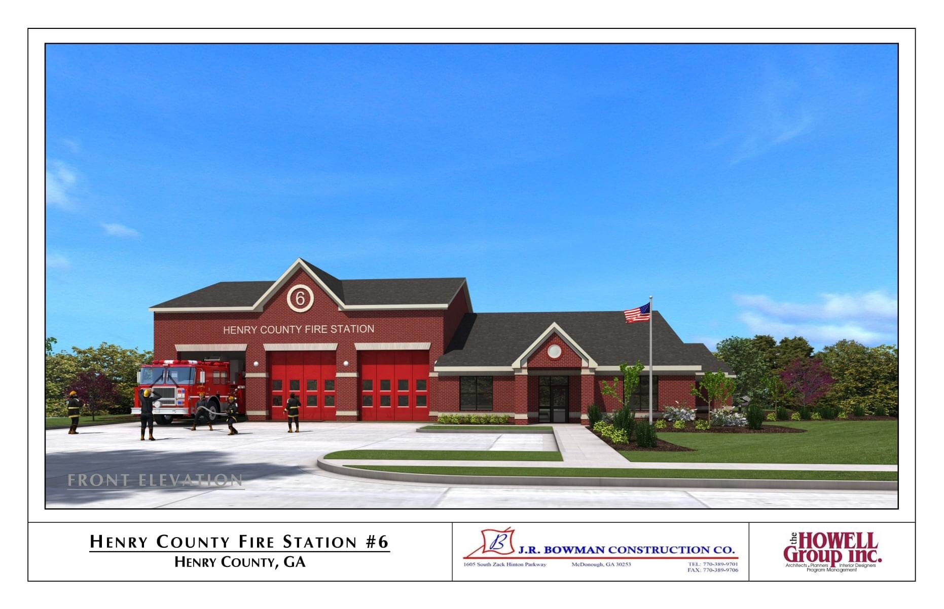 Concept front elevation for fire station 6 (JR Bowman Construction photo)