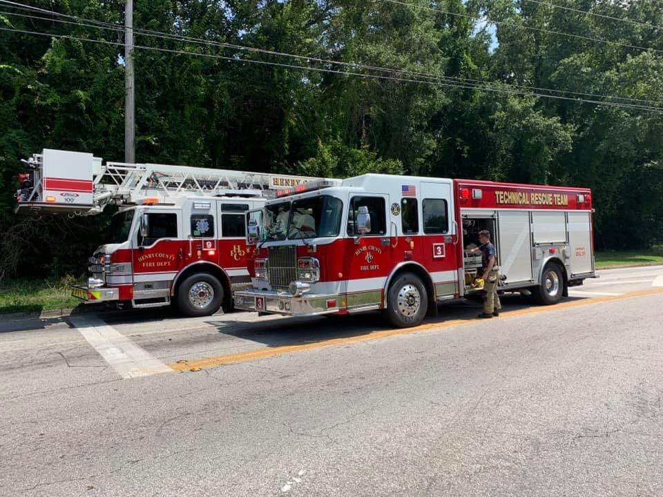 Photo of a ladder truck and squad (Henry County Fire Dept photo)