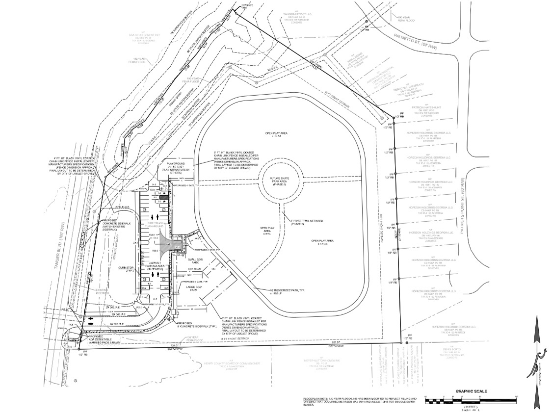 Concept site plan for Tanger Blvd park (Falcon Design photo / commissioned by city of Locust Grove)