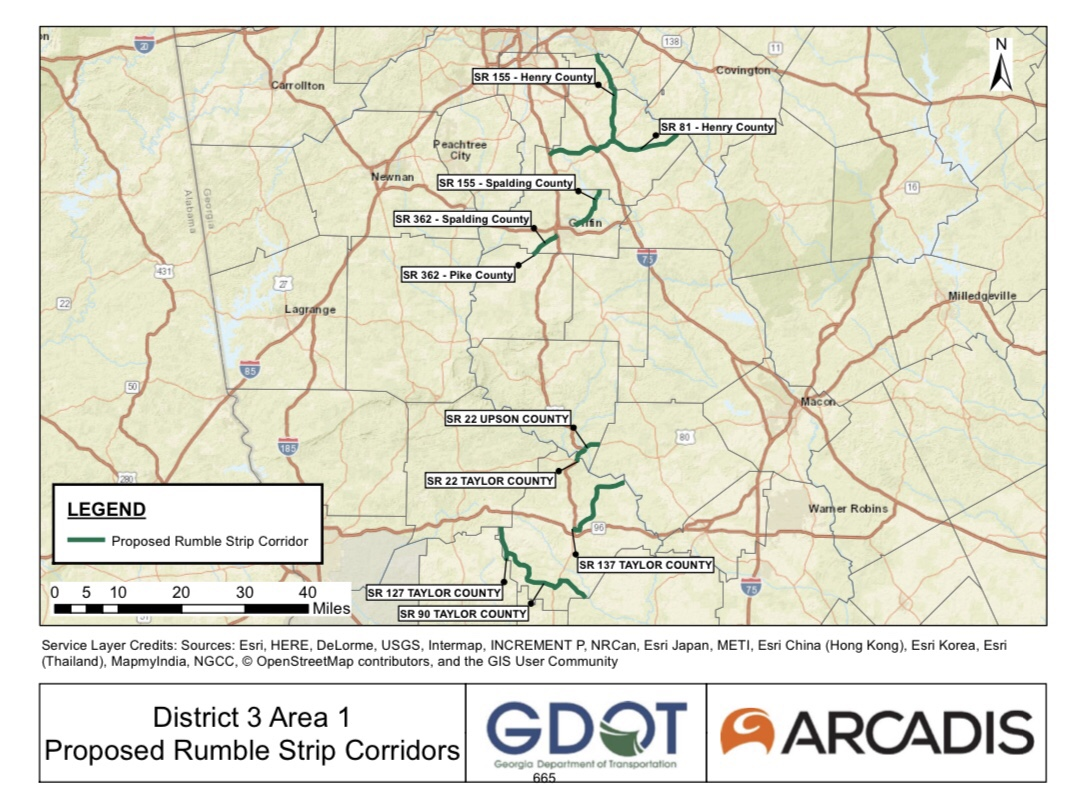 Map of rumble strip installations for 2020 (Georgia DOT photo)