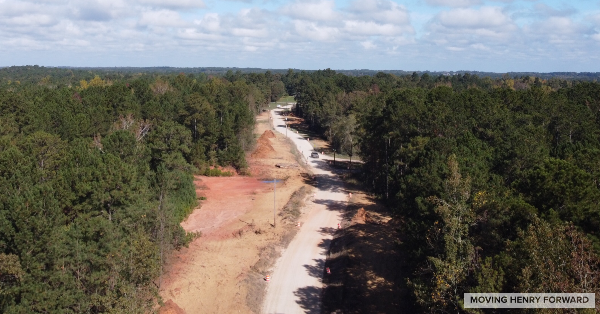 Aerial photo of Peeksville Road dirt road paving under construction in October 2020 (staff photo)