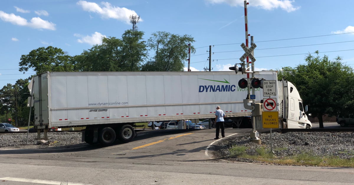 Photo of tractor-trailer stuck on Bowden Street railroad crossing (special photo)