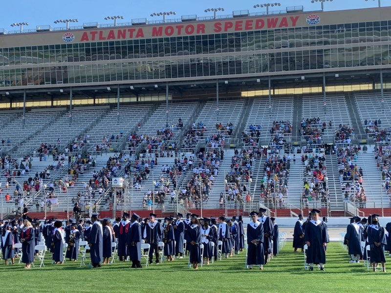 Photo of graduation ceremony at Atlanta Motor Speedway in 2020 (Henry County Schools photo)